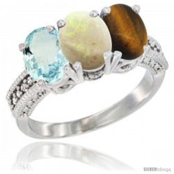 14K White Gold Natural Aquamarine, Opal & Tiger Eye Ring 3-Stone Oval 7x5 mm Diamond Accent