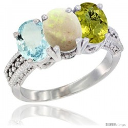 14K White Gold Natural Aquamarine, Opal & Lemon Quartz Ring 3-Stone Oval 7x5 mm Diamond Accent