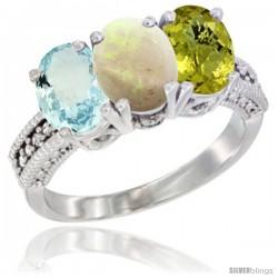 14K White Gold Natural Aquamarine, Opal & Lemon Quartz Ring 3-Stone Oval 7x5 mm Diamond Accent