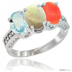 14K White Gold Natural Aquamarine, Opal & Coral Ring 3-Stone Oval 7x5 mm Diamond Accent