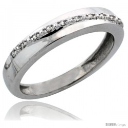 10k White Gold Ladies' Diamond Band, w/ 0.08 Carat Brilliant Cut Diamonds, 1/8 in. (3.5mm) wide