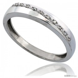 10k White Gold Men's Diamond Band, w/ 0.08 Carat Brilliant Cut Diamonds, 1/8 in. (3.5mm) wide