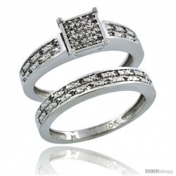 10k White Gold 2-Piece Diamond Engagement Ring Band Set w/ 0.21 Carat Brilliant Cut Diamonds, 1/8 in. (3.5mm) wide