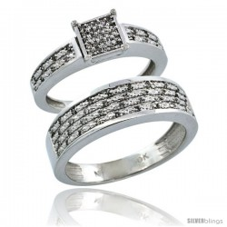 10k White Gold 2-Piece Diamond Ring Band Set w/ Rhodium Accent ( Engagement Ring & Man's Wedding Band ), w/ 0.27 Carat