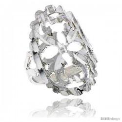 Sterling Silver Oval-shaped Leaf Design Filigree Ring, 1 in