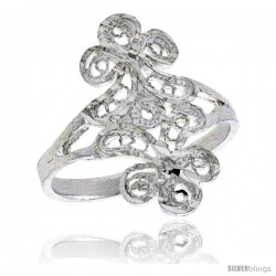 Sterling Silver Floral Filigree Ring, 3/4 in -Style Fr420