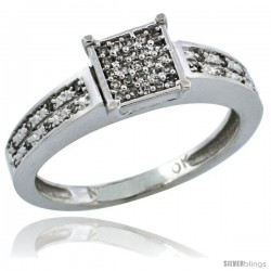 10k White Gold Diamond Engagement Ring w/ 0.145 Carat Brilliant Cut Diamonds, 1/8 in. (3mm) wide