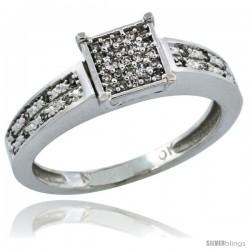 10k White Gold Diamond Engagement Ring w/ 0.145 Carat Brilliant Cut Diamonds, 1/8 in. (3mm) wide