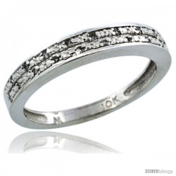 10k White Gold Ladies' Diamond Ring Band w/ 0.064 Carat Brilliant Cut Diamonds, 1/8 in. (3.5mm) wide