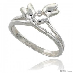 Sterling Silver Small Tulips Ring Flawless finish 1/2 in wide