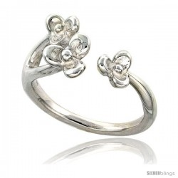 Sterling Silver 3 Petal Flowers Ring Flawless finish 1/2 in wide
