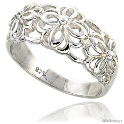 Sterling Silver Floral Pattern Cut-out Ring Flawless finish 1/2 in wide