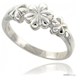 Sterling Silver Dainty 3-flower Ring Flawless finish 3/8 in wide