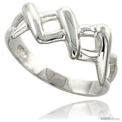 Sterling Silver 3-X Ring Flawless finish 3/8 in wide