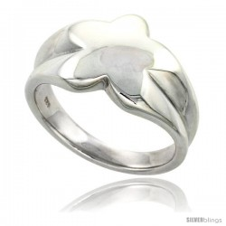 Sterling Silver Star Ring Flawless finish 1/2 in wide