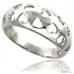 Sterling Silver Domed Band w/ Heart Cut-Outs Ring Flawless finish 3/8 in wide