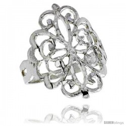 Sterling Silver Floral Pattern Filigree Ring, 3/4 in -Style Fr418