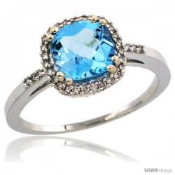 14k White Gold Diamond Swiss Blue Topaz Ring 1.5 ct Checkerboard Cut Cushion Shape 7 mm, 3/8 in wide