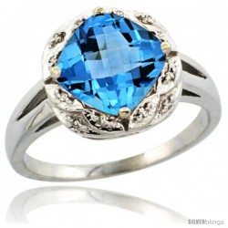 14k White Gold Diamond Halo Swiss Blue Topaz Ring 2.7 ct Checkerboard Cut Cushion Shape 8 mm, 1/2 in wide
