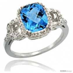 14k White Gold Diamond Swiss Blue Topaz Ring 2 ct Checkerboard Cut Cushion Shape 9x7 mm, 1/2 in wide