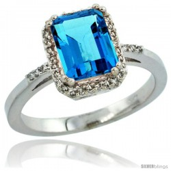 14k White Gold Diamond Swiss Blue Topaz Ring 1.6 ct Emerald Shape 8x6 mm, 1/2 in wide -Style Cw404129