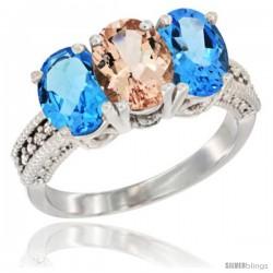 14K White Gold Natural Morganite & Swiss Blue Topaz Sides Ring 3-Stone 7x5 mm Oval Diamond Accent