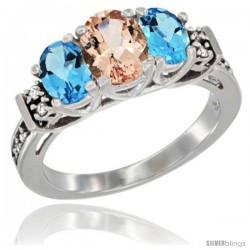 14K White Gold Natural Morganite & Swiss Blue Topaz Ring 3-Stone Oval with Diamond Accent