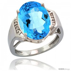 14k White Gold Diamond Swiss Blue Topaz Ring 9.7 ct Large Oval Stone 16x12 mm, 5/8 in wide