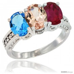 14K White Gold Natural Swiss Blue Topaz, Morganite & Ruby Ring 3-Stone 7x5 mm Oval Diamond Accent