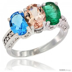 14K White Gold Natural Swiss Blue Topaz, Morganite & Emerald Ring 3-Stone 7x5 mm Oval Diamond Accent