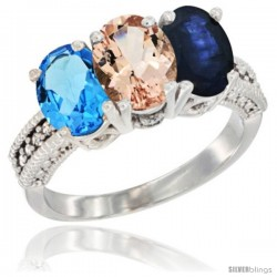 14K White Gold Natural Swiss Blue Topaz, Morganite & Blue Sapphire Ring 3-Stone 7x5 mm Oval Diamond Accent