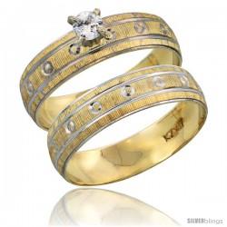 10k Gold Ladies' 2-Piece 0.10 Carat Diamond Engagement Ring Set Diamond-cut Pattern Rhodium Accent, 3/16 in -Style 10y505e2