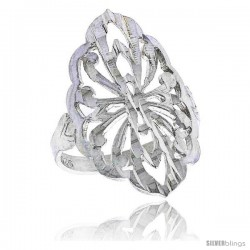 Sterling Silver Diamond-shaped Floral Filigree Ring, 7/8 in