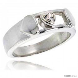 Sterling Silver Heart CZ Band Ring