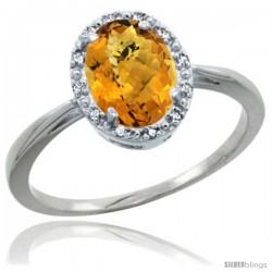 10k White Gold whisky Quartz Diamond Halo Ring 8X6 mm Oval Shape, 1/2 in wide