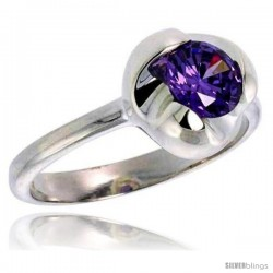 Sterling Silver Amethyst Colored CZ Flower Solitaire Ring