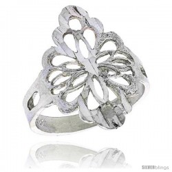Sterling Silver Diamond-shaped Floral Filigree Ring, 3/4 in