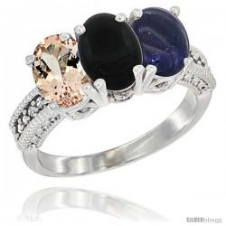 10K White Gold Natural Morganite, Black Onyx & Lapis Ring 3-Stone Oval 7x5 mm Diamond Accent