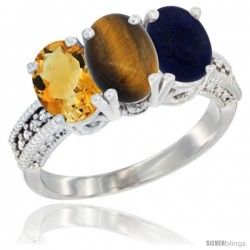 14K White Gold Natural Citrine, Tiger Eye & Lapis Ring 3-Stone 7x5 mm Oval Diamond Accent