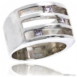 Sterling Silver Wide Fancy Cubic Zirconia Band Ring