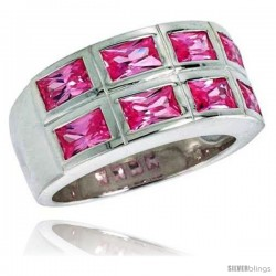 Sterling Silver Double Row Emerald Cut Pink Tourmaline Colored CZ Ring
