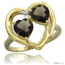 10k Yellow Gold 2-Stone Heart Ring 6mm Natural Smoky Topaz & Smoky Topaz