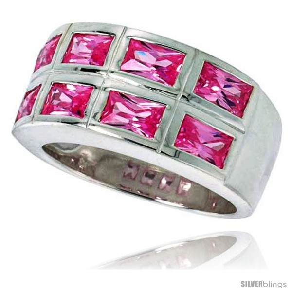 sterling silver row emerald cut pink tourmaline