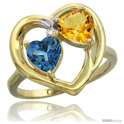 14k Yellow Gold 2-Stone Heart Ring 6mm Natural London Blue Topaz & Citrine Diamond Accent