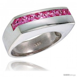 Sterling Silver Princess Cut Pink Tourmaline Colored CZ Ring