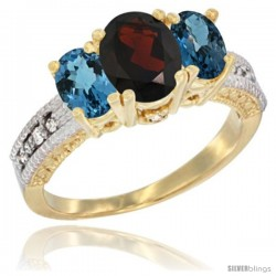 14k Yellow Gold Ladies Oval Natural Garnet 3-Stone Ring with London Blue Topaz Sides Diamond Accent