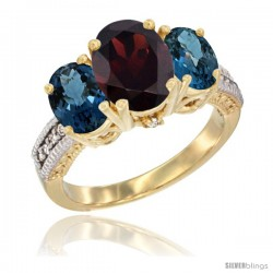 14K Yellow Gold Ladies 3-Stone Oval Natural Garnet Ring with London Blue Topaz Sides Diamond Accent
