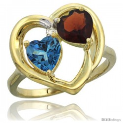 14k Yellow Gold 2-Stone Heart Ring 6mm Natural London Blue Topaz & Garnet Diamond Accent