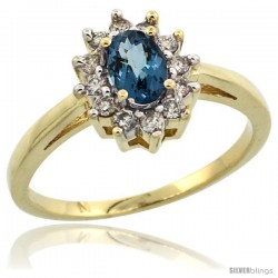14k Yellow Gold London Blue Topaz Diamond Halo Ring Oval Shape 1.2 Carat 6X4 mm, 1/2 in wide