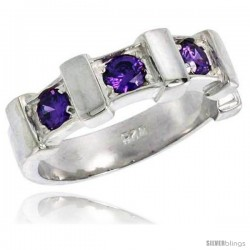 Sterling Silver Amethyst Colored CZ Eternity Band Ring